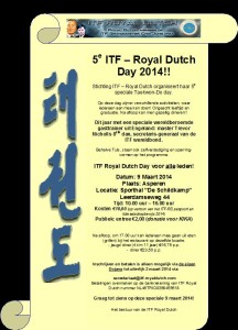 Uitnodiging  5de ITF-Royal Dutch Day 9 Mrt 2014.